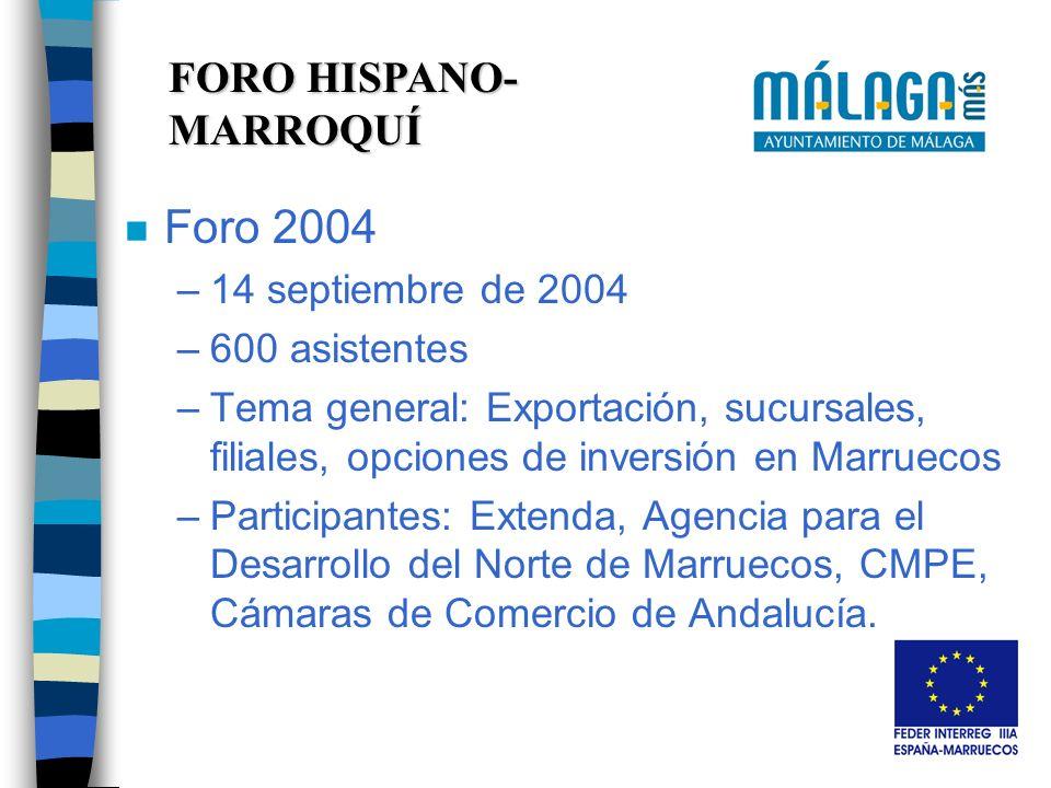 FORO HISPANO- MARROQUÍ n Foro 2004 –14 septiembre de 2004 –600 asistentes –Tema general: Exportación, sucursales, filiales, opciones de inversión en Marruecos –Participantes: Extenda, Agencia para el Desarrollo del Norte de Marruecos, CMPE, Cámaras de Comercio de Andalucía.