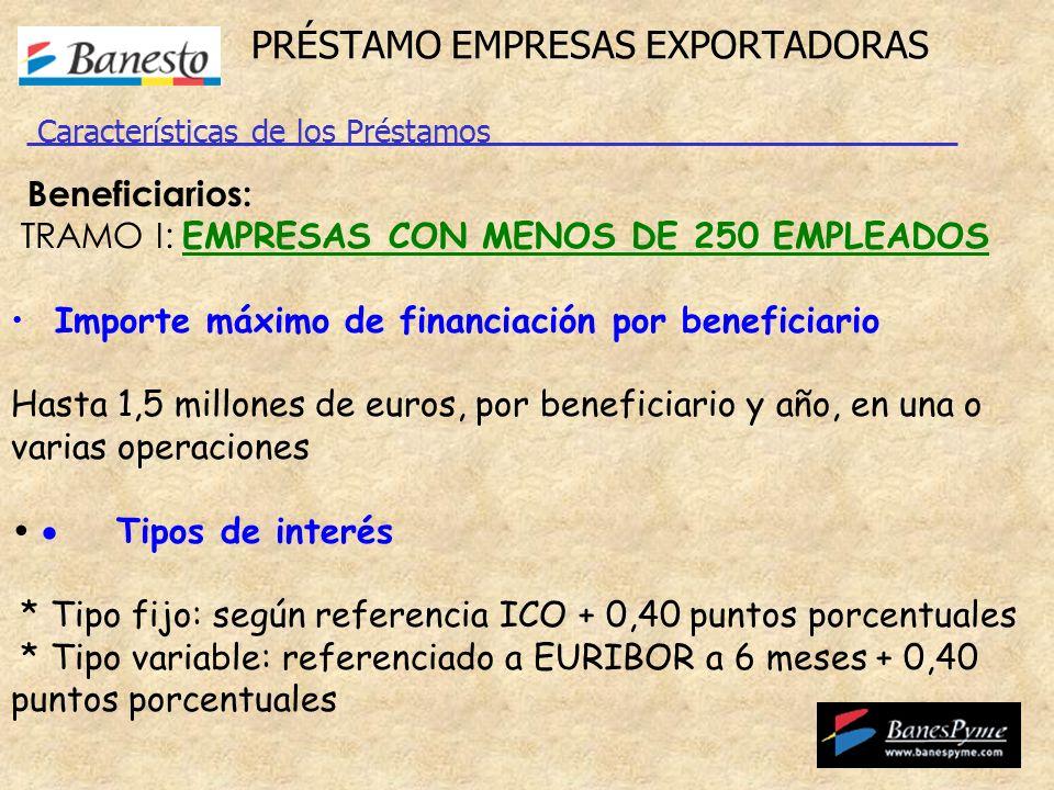 PRÉSTAMO EMPRESAS EXPORTADORAS Beneficiarios: TRAMO I: EMPRESAS CON MENOS DE 250 EMPLEADOS Importe máximo de financiación por beneficiario Hasta 1,5 millones de euros, por beneficiario y año, en una o varias operaciones Tipos de interés * Tipo fijo: según referencia ICO + 0,40 puntos porcentuales * Tipo variable: referenciado a EURIBOR a 6 meses + 0,40 puntos porcentuales Características de los Préstamos