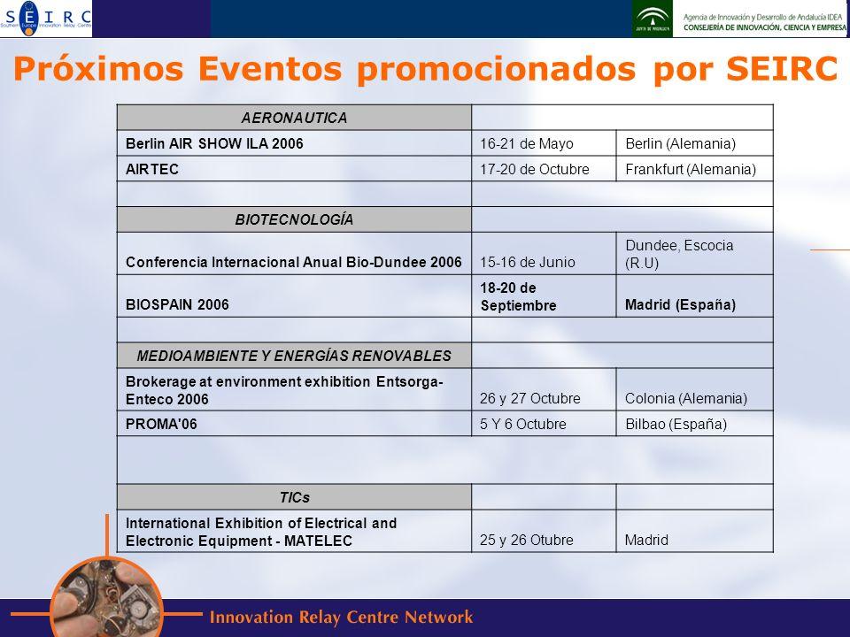 Próximos Eventos promocionados por SEIRC AERONAUTICA Berlin AIR SHOW ILA 200616-21 de MayoBerlin (Alemania) AIRTEC17-20 de OctubreFrankfurt (Alemania) BIOTECNOLOGÍA Conferencia Internacional Anual Bio-Dundee 200615-16 de Junio Dundee, Escocia (R.U) BIOSPAIN 2006 18-20 de SeptiembreMadrid (España) MEDIOAMBIENTE Y ENERGÍAS RENOVABLES Brokerage at environment exhibition Entsorga- Enteco 200626 y 27 OctubreColonia (Alemania) PROMA 065 Y 6 OctubreBilbao (España) TICs International Exhibition of Electrical and Electronic Equipment - MATELEC25 y 26 OtubreMadrid