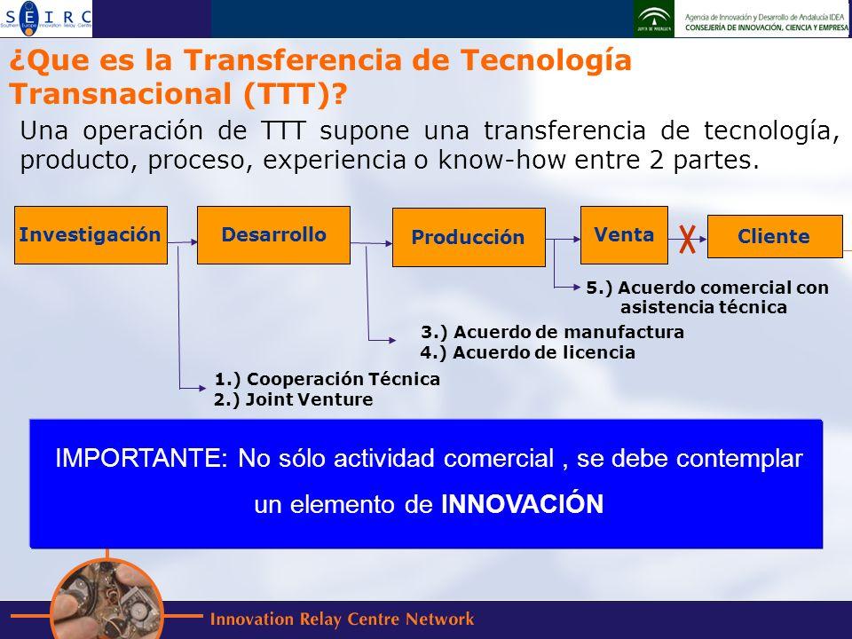 Una operación de TTT supone una transferencia de tecnología, producto, proceso, experiencia o know-how entre 2 partes.