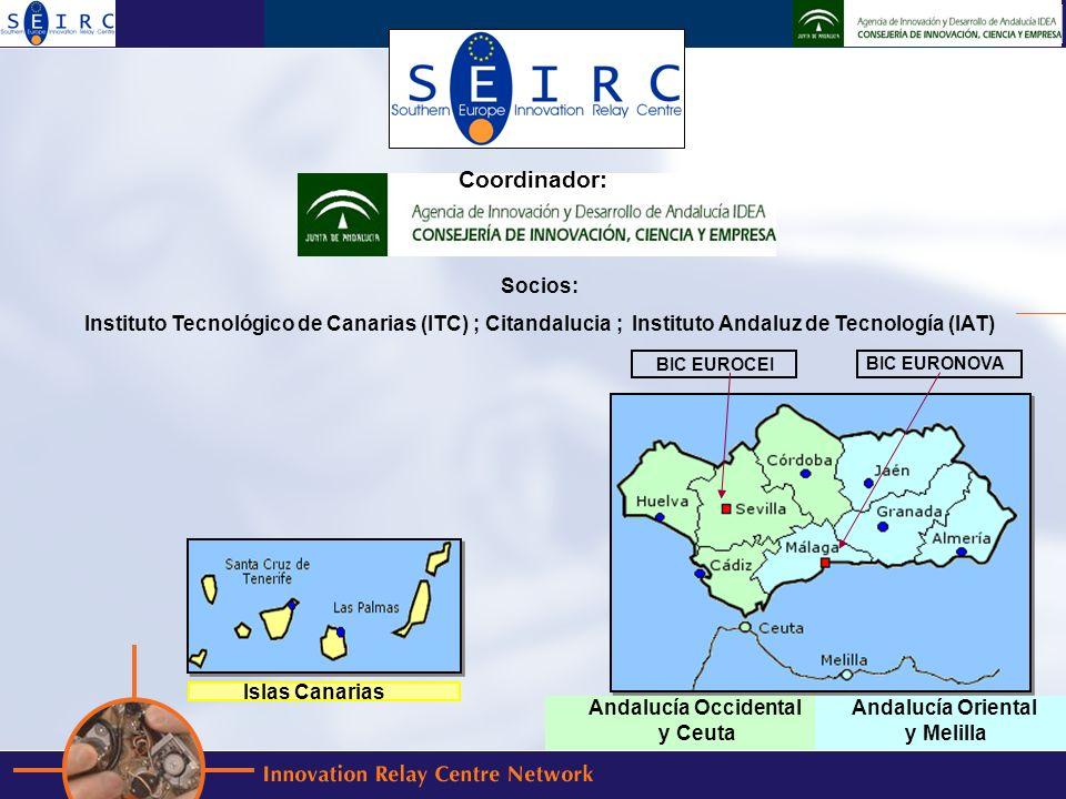 Socios: Instituto Tecnológico de Canarias (ITC) ; Citandalucia ; Instituto Andaluz de Tecnología (IAT) BIC EUROCEI BIC EURONOVA Islas Canarias Andalucía Occidental y Ceuta Andalucía Oriental y Melilla Coordinador: