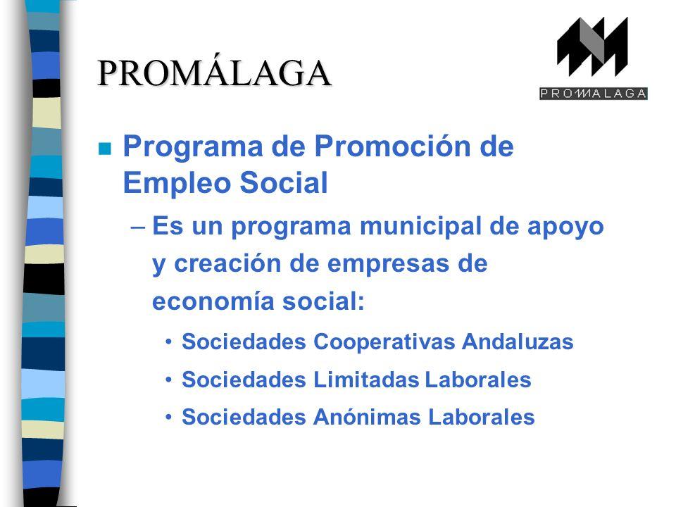 n Programa de Promoción de Empleo Social –Es un programa municipal de apoyo y creación de empresas de economía social: Sociedades Cooperativas Andaluzas Sociedades Limitadas Laborales Sociedades Anónimas Laborales PROMÁLAGA