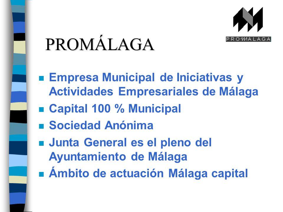 PROMÁLAGA n Empresa Municipal de Iniciativas y Actividades Empresariales de Málaga n Capital 100 % Municipal n Sociedad Anónima n Junta General es el pleno del Ayuntamiento de Málaga n Ámbito de actuación Málaga capital