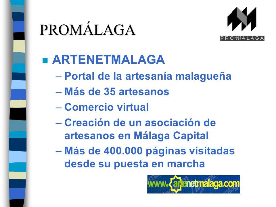 n ARTENETMALAGA –Portal de la artesanía malagueña –Más de 35 artesanos –Comercio virtual –Creación de un asociación de artesanos en Málaga Capital –Más de 400.000 páginas visitadas desde su puesta en marcha PROMÁLAGA