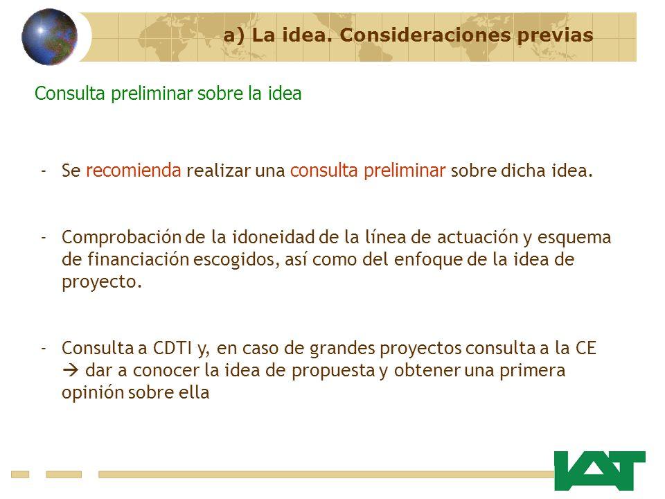 a) La idea. Consideraciones previas Consulta preliminar sobre la idea -Se recomienda realizar una consulta preliminar sobre dicha idea. -Comprobación
