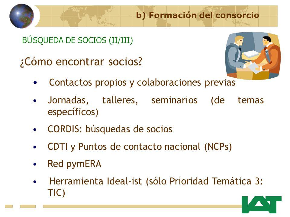 ¿Cómo encontrar socios? Contactos propios y colaboraciones previas Jornadas, talleres, seminarios (de temas específicos) CORDIS: búsquedas de socios C
