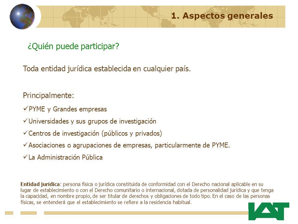 ¿Quién puede participar? Toda entidad jurídica establecida en cualquier país. Principalmente: PYME y Grandes empresas Universidades y sus grupos de in