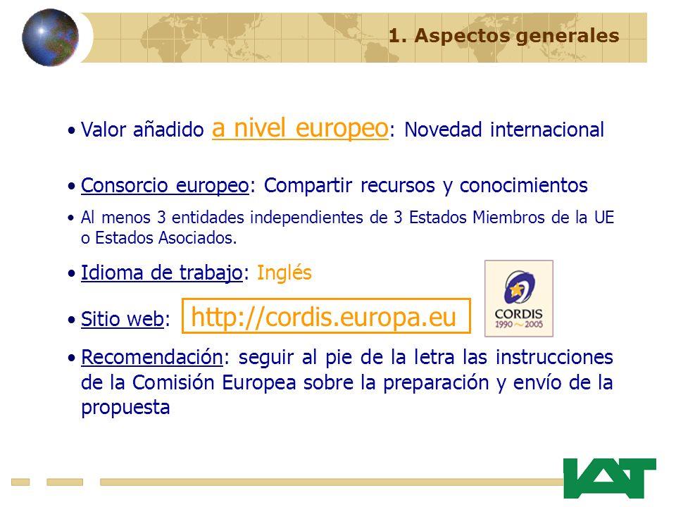 Valor añadido a nivel europeo : Novedad internacional Consorcio europeo: Compartir recursos y conocimientos Al menos 3 entidades independientes de 3 E