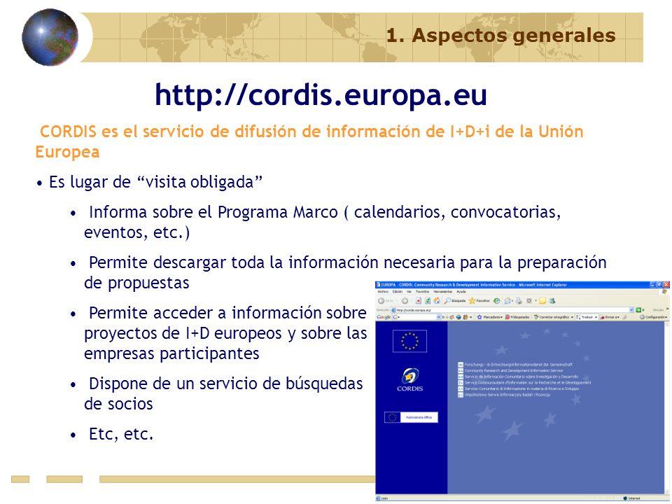 http://cordis.europa.eu CORDIS es el servicio de difusión de información de I+D+i de la Unión Europea Es lugar de visita obligada Informa sobre el Pro