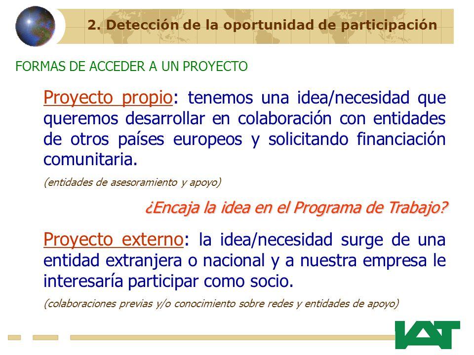 2. Detección de la oportunidad de participación Proyecto propio: tenemos una idea/necesidad que queremos desarrollar en colaboración con entidades de