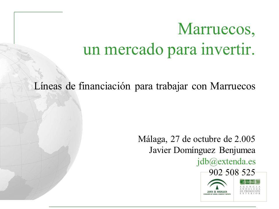 1 Marruecos, un mercado para invertir. Líneas de financiación para trabajar con Marruecos Málaga, 27 de octubre de 2.005 Javier Domínguez Benjumea jdb