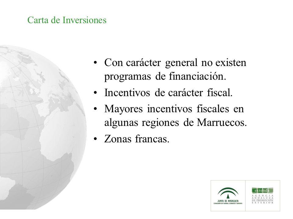 Carta de Inversiones Con carácter general no existen programas de financiación. Incentivos de carácter fiscal. Mayores incentivos fiscales en algunas