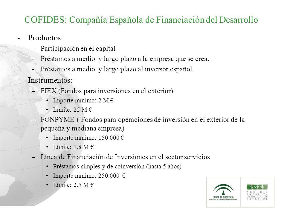 COFIDES: Compañía Española de Financiación del Desarrollo -Productos: -Participación en el capital -Préstamos a medio y largo plazo a la empresa que s