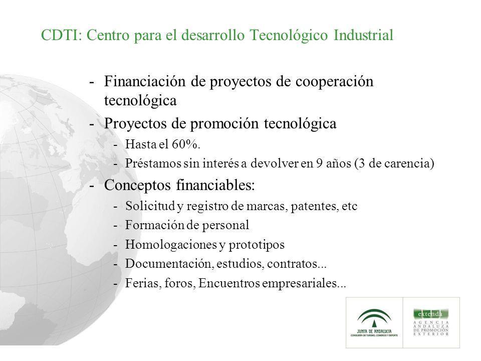CDTI: Centro para el desarrollo Tecnológico Industrial -Financiación de proyectos de cooperación tecnológica -Proyectos de promoción tecnológica -Hasta el 60%.