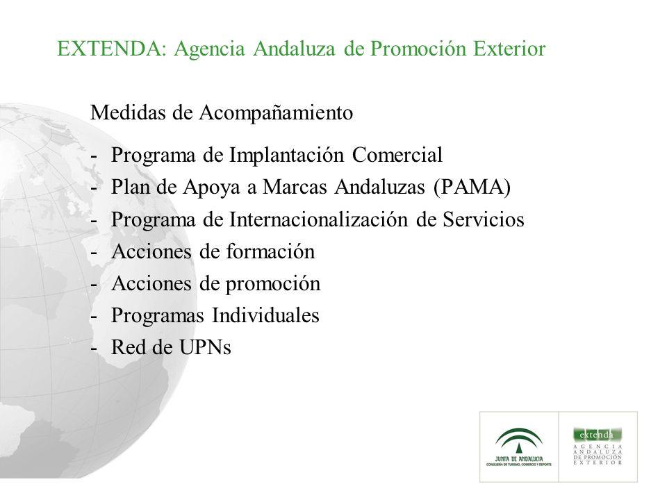 EXTENDA: Agencia Andaluza de Promoción Exterior Medidas de Acompañamiento -Programa de Implantación Comercial -Plan de Apoya a Marcas Andaluzas (PAMA) -Programa de Internacionalización de Servicios -Acciones de formación -Acciones de promoción -Programas Individuales -Red de UPNs