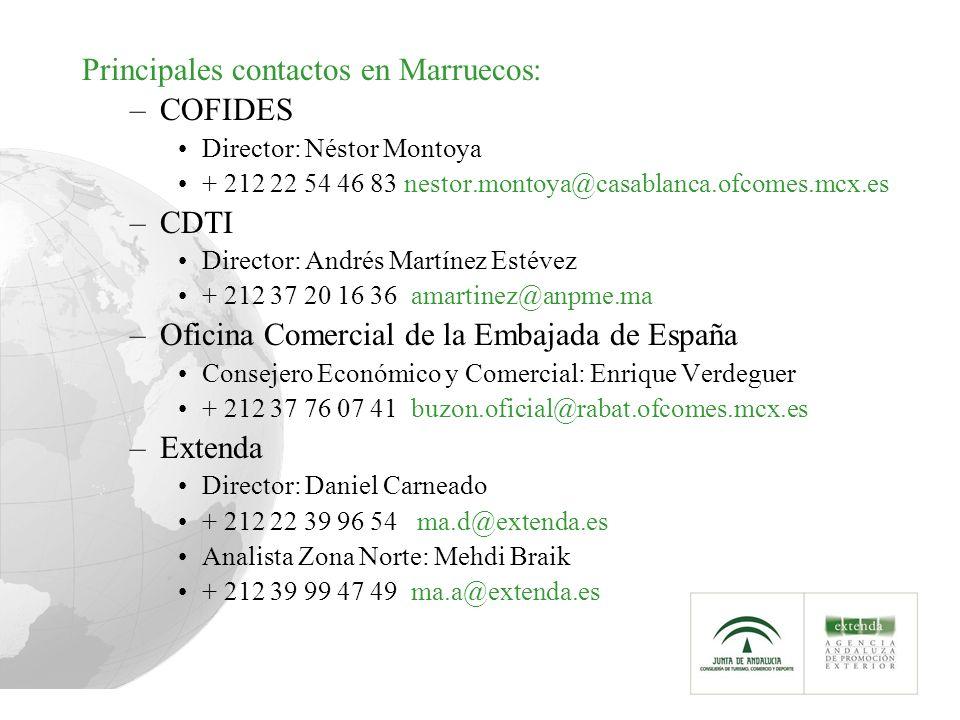 Principales contactos en Marruecos: –COFIDES Director: Néstor Montoya + 212 22 54 46 83 nestor.montoya@casablanca.ofcomes.mcx.es –CDTI Director: Andrés Martínez Estévez + 212 37 20 16 36 amartinez@anpme.ma –Oficina Comercial de la Embajada de España Consejero Económico y Comercial: Enrique Verdeguer + 212 37 76 07 41 buzon.oficial@rabat.ofcomes.mcx.es –Extenda Director: Daniel Carneado + 212 22 39 96 54 ma.d@extenda.es Analista Zona Norte: Mehdi Braik + 212 39 99 47 49 ma.a@extenda.es
