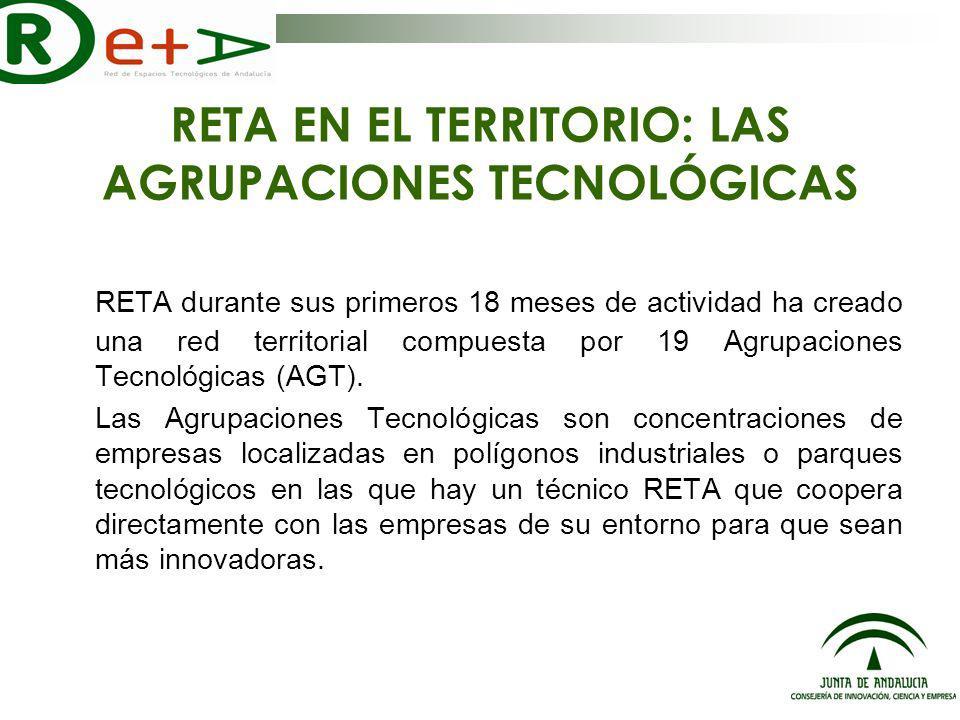 AGRUPACIONES TECNOLÓGICAS (AGTs) A fecha de Diciembre de 2006 RETA se despliega en Andalucía a través de 19 AGTs AGT Poniente Próxima puesta en marcha de la AGT de Poniente en Vícar en Enero de 2007 Diciembre 2006