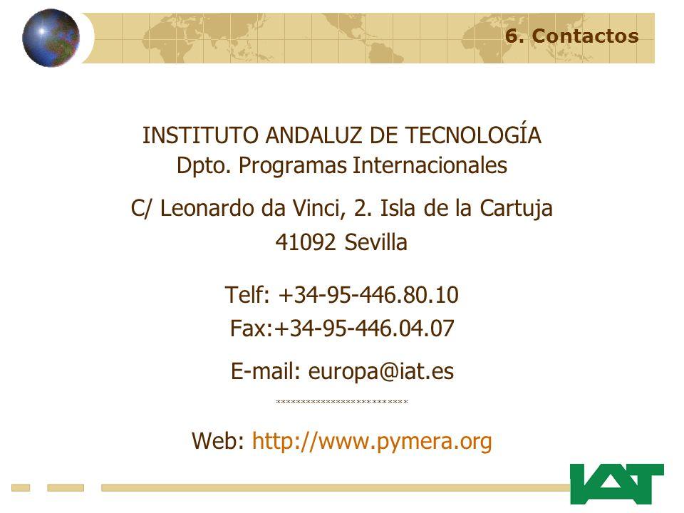 INSTITUTO ANDALUZ DE TECNOLOGÍA Dpto. Programas Internacionales C/ Leonardo da Vinci, 2.