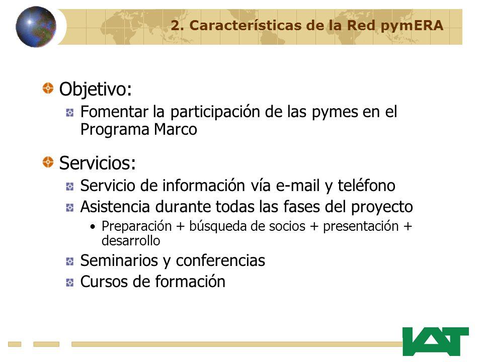 Objetivo: Fomentar la participación de las pymes en el Programa Marco Servicios: Servicio de información vía e-mail y teléfono Asistencia durante todas las fases del proyecto Preparación + búsqueda de socios + presentación + desarrollo Seminarios y conferencias Cursos de formación 2.