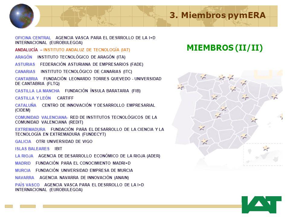 OFICINA CENTRAL OFICINA CENTRAL - AGENCIA VASCA PARA EL DESRROLLO DE LA I+D INTERNACIONAL (EUROBULEGOA) ANDALUCÍA ANDALUCÍA – INSTITUTO ANDALUZ DE TECNOLOGÍA (IAT) ARAGÓN ARAGÓN – INSTITUTO TECNOLÓGICO DE ARAGÓN (ITA) ASTURIAS ASTURIAS – FEDERACIÓN ASTURIANA DE EMPRESARIOS (FADE) CANARIAS CANARIAS – INSTITUTO TECNOLÓGICO DE CANARIAS (ITC) CANTABRIA CANTABRIA – FUNDACIÓN LEONARDO TORRES QUEVEDO - UNIVERSIDAD DE CANTABRIA (FLTQ) CASTILLALAMANCHA CASTILLA LA MANCHA – FUNDACIÓN ÍNSULA BARATARIA (FIB) CASTILLAY LEÓN CASTILLA Y LEÓN CCARTIFF CATALUÑA CATALUÑA – CENTRO DE INNOVACIÓN Y DESARROLLO EMPRESARIAL (CIDEM) COMUNIDADVALENCIANA- COMUNIDAD VALENCIANA- RED DE INSTITUTOS TECNOLÓGICOS DE LA COMUNIDAD VALENCIANA (REDIT) EXTREMADURA EXTREMADURA – FUNDACIÓN PARA EL DESARROLLO DE LA CIENCIA Y LA TECNOLOGÍA EN EXTREMADURA (FUNDECYT) GALICIA GALICIA – OTRI UNIVERSIDAD DE VIGO ISLASBALEARES ISLAS BALEARES – IBIT LARIOJA LA RIOJA – AGENCIA DE DESARROLLO ECONÓMICO DE LA RIOJA (ADER) MADRID MADRID – FUNDACIÓN PARA EL CONOCIMIENTO MADRI+D MURCIA MURCIA – FUNDACIÓN UNIVERSIDAD EMPRESA DE MURCIA NAVARRA NAVARRA – AGENCIA NAVARRA DE INNOVACIÓN (ANAIN) PAÍSVASCO PAÍS VASCO – AGENCIA VASCA PARA EL DESRROLLO DE LA I+D INTERNACIONAL (EUROBULEGOA) 3.