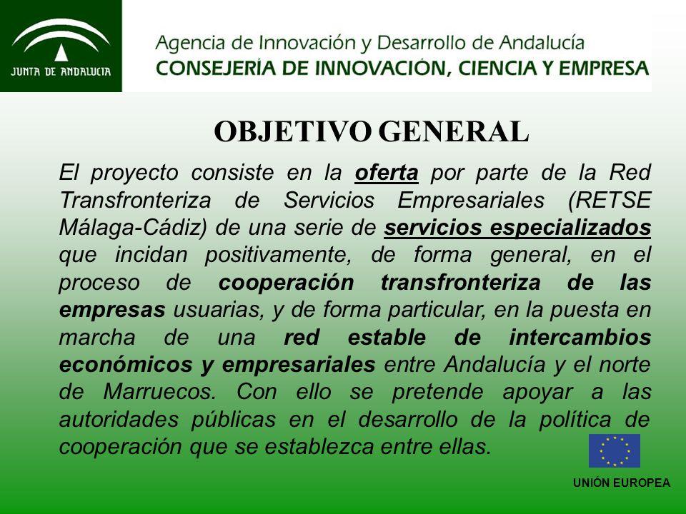 UNIÓN EUROPEA OBJETIVO GENERAL El proyecto consiste en la oferta por parte de la Red Transfronteriza de Servicios Empresariales (RETSE Málaga-Cádiz) de una serie de servicios especializados que incidan positivamente, de forma general, en el proceso de cooperación transfronteriza de las empresas usuarias, y de forma particular, en la puesta en marcha de una red estable de intercambios económicos y empresariales entre Andalucía y el norte de Marruecos.