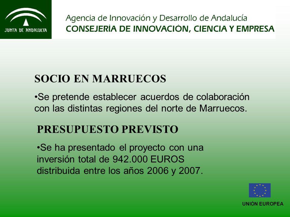 UNIÓN EUROPEA SOCIO EN MARRUECOS Se pretende establecer acuerdos de colaboración con las distintas regiones del norte de Marruecos.
