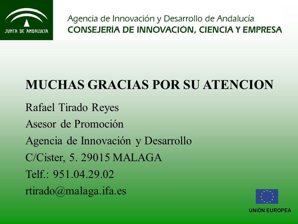 UNIÓN EUROPEA MUCHAS GRACIAS POR SU ATENCION Rafael Tirado Reyes Asesor de Promoción Agencia de Innovación y Desarrollo C/Cister, 5.