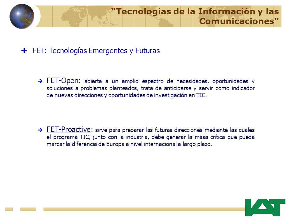 FET-Proactive: sirve para preparar las futuras direcciones mediante las cuales el programa TIC, junto con la industria, debe generar la masa crítica que pueda marcar la diferencia de Europa a nivel internacional a largo plazo.