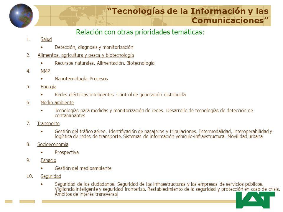 Relación con otras prioridades temáticas: 1.Salud Detección, diagnosis y monitorización 2. Alimentos, agricultura y pesca y biotecnología Recursos nat