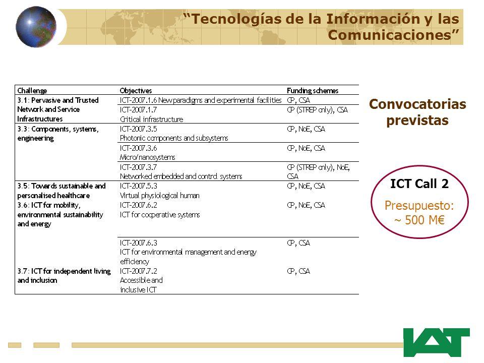 Tecnologías de la Información y las Comunicaciones Convocatorias previstas ICT Call 2 Presupuesto: 500 M