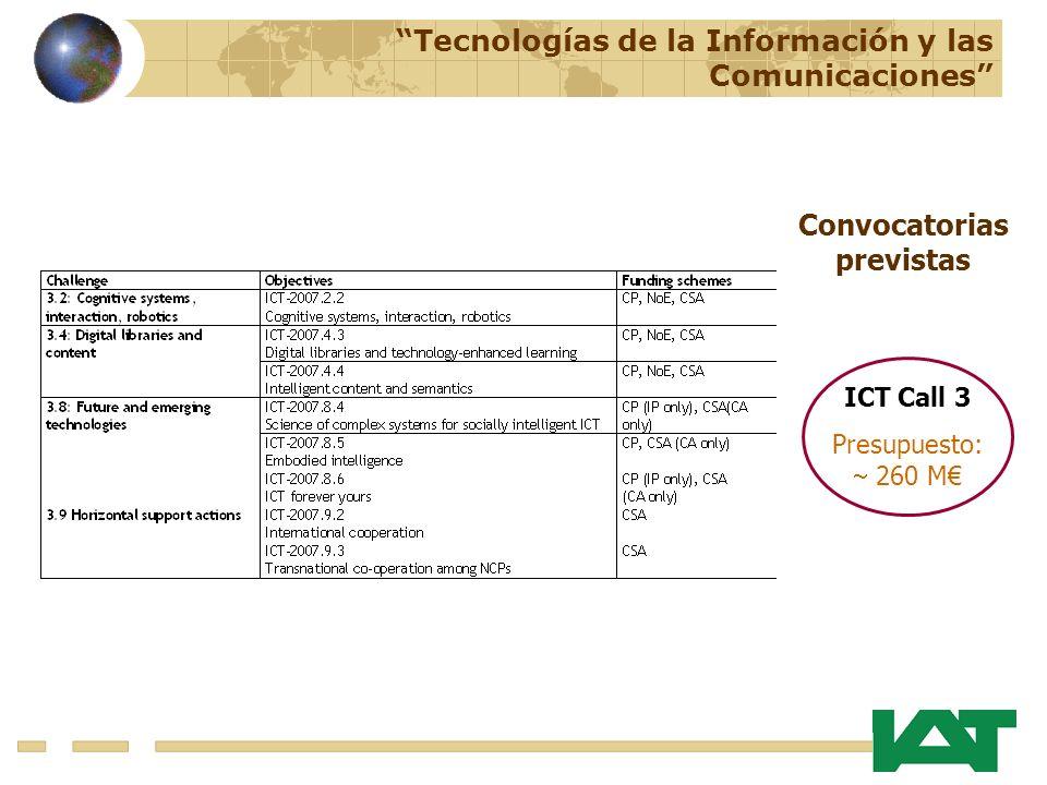 ICT Call 3 Presupuesto: 260 M Tecnologías de la Información y las Comunicaciones Convocatorias previstas
