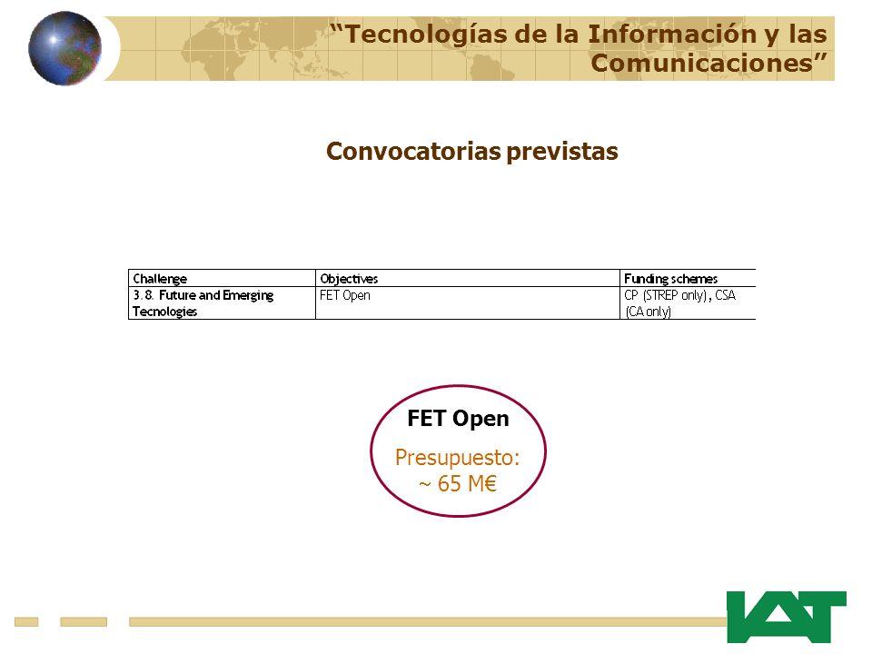 FET Open Presupuesto: 65 M Tecnologías de la Información y las Comunicaciones Convocatorias previstas