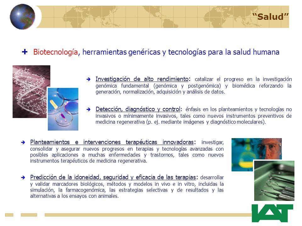 Salud Biotecnología, herramientas genéricas y tecnologías para la salud humana Investigación de alto rendimiento : catalizar el progreso en la investigación genómica fundamental (genómica y postgenómica) y biomédica reforzando la generación, normalización, adquisición y análisis de datos.
