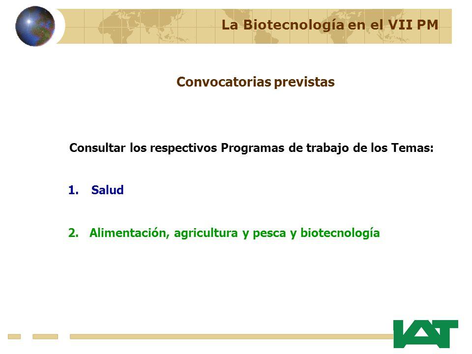 Consultar los respectivos Programas de trabajo de los Temas: 1.Salud 2. Alimentación, agricultura y pesca y biotecnología Convocatorias previstas La B