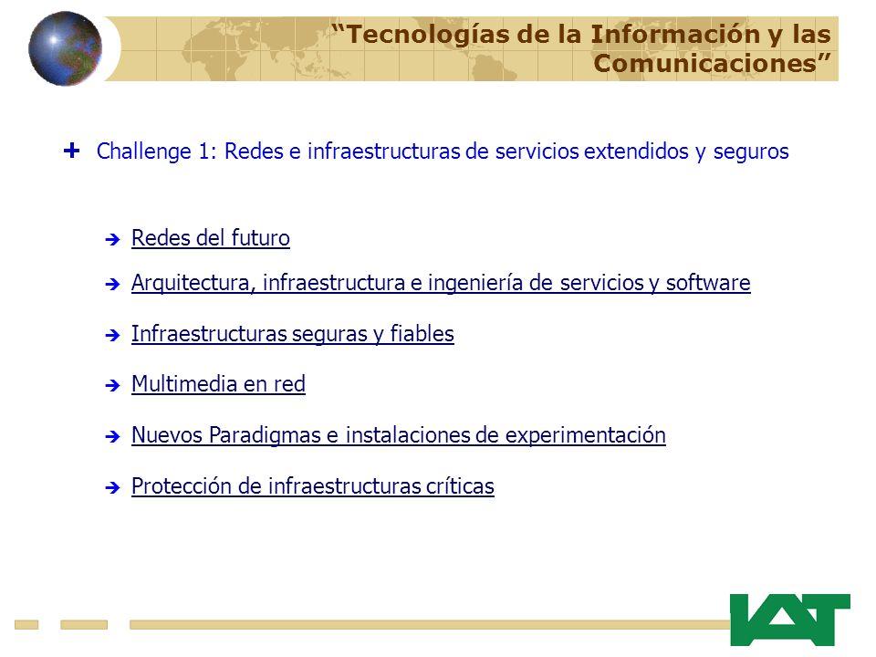 Challenge 1: Redes e infraestructuras de servicios extendidos y seguros Redes del futuro Arquitectura, infraestructura e ingeniería de servicios y software Infraestructuras seguras y fiables Tecnologías de la Información y las Comunicaciones Multimedia en red Nuevos Paradigmas e instalaciones de experimentación Protección de infraestructuras críticas