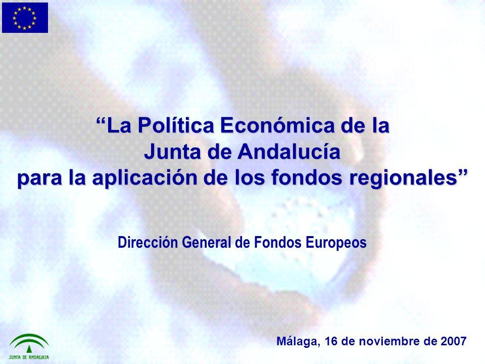 Dotaciones inicialmente programadas para Andalucía 2007-2013 Junta de Andalucía A.G.E TOTAL ANDALUCÍA: ACCIONES ESTRUCTURALES FEADER Y FEP TOTAL FONDOS EUROPEOS 4.128,0 7.110,0 11.138,0 860 468,5 1.328,5 4.988,0 7.478,5 12.466,5 (Millones de euros 2004) 1