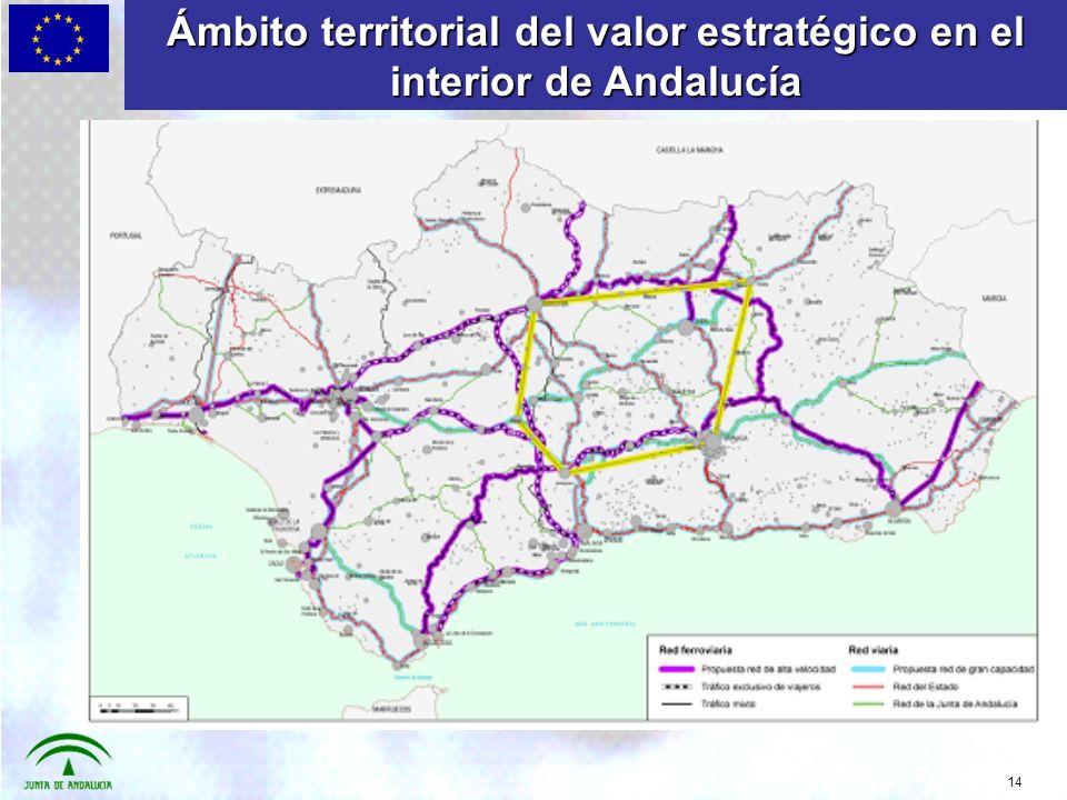 14 Ámbito territorial del valor estratégico en el interior de Andalucía