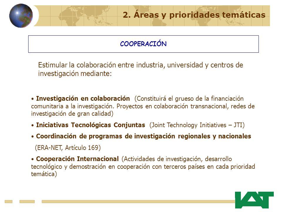 2. Áreas y prioridades temáticas COOPERACIÓN Investigación en colaboración (Constituirá el grueso de la financiación comunitaria a la investigación. P