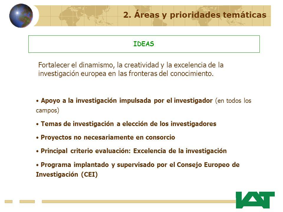 2. Áreas y prioridades temáticas IDEAS Apoyo a la investigación impulsada por el investigador (en todos los campos) Temas de investigación a elección