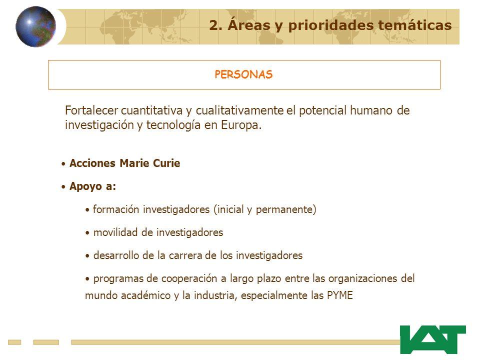 2. Áreas y prioridades temáticas PERSONAS Acciones Marie Curie Apoyo a: formación investigadores (inicial y permanente) movilidad de investigadores de