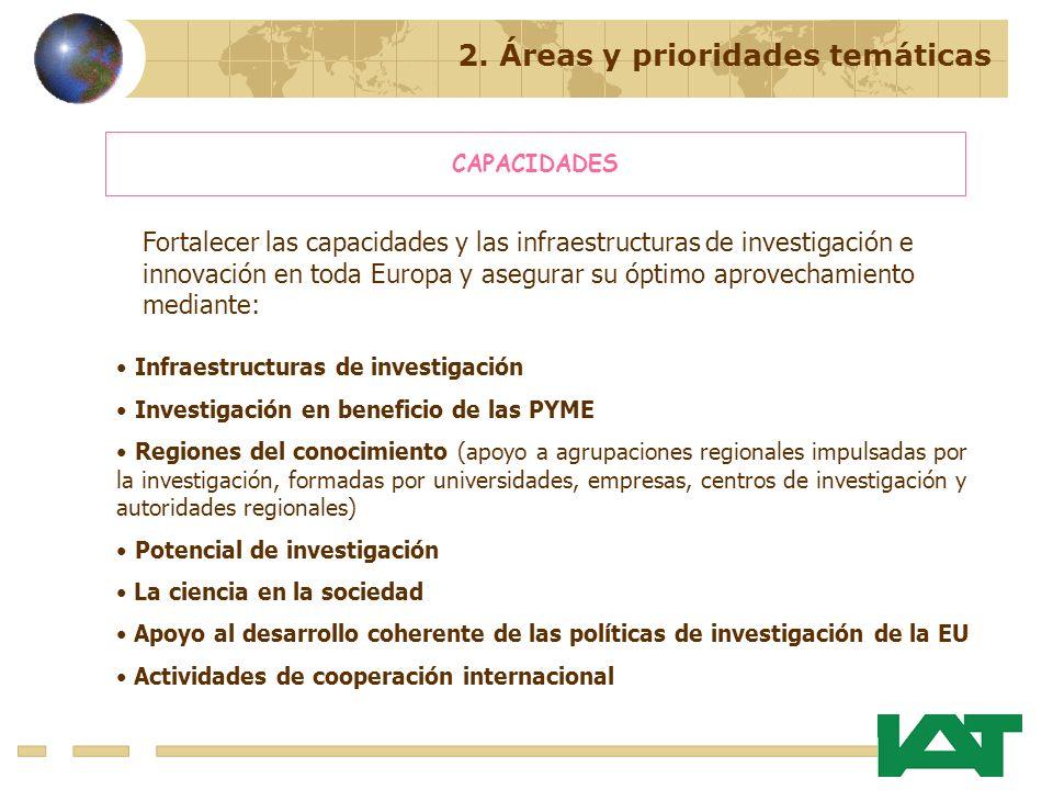 2. Áreas y prioridades temáticas CAPACIDADES Fortalecer las capacidades y las infraestructuras de investigación e innovación en toda Europa y asegurar