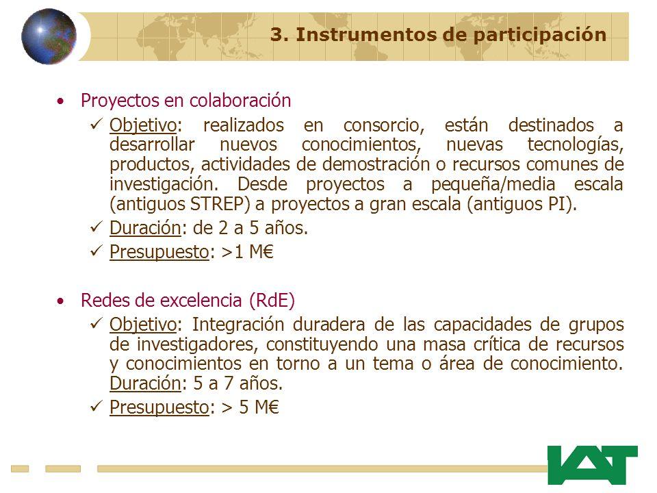 Proyectos en colaboración Objetivo: realizados en consorcio, están destinados a desarrollar nuevos conocimientos, nuevas tecnologías, productos, actividades de demostración o recursos comunes de investigación.