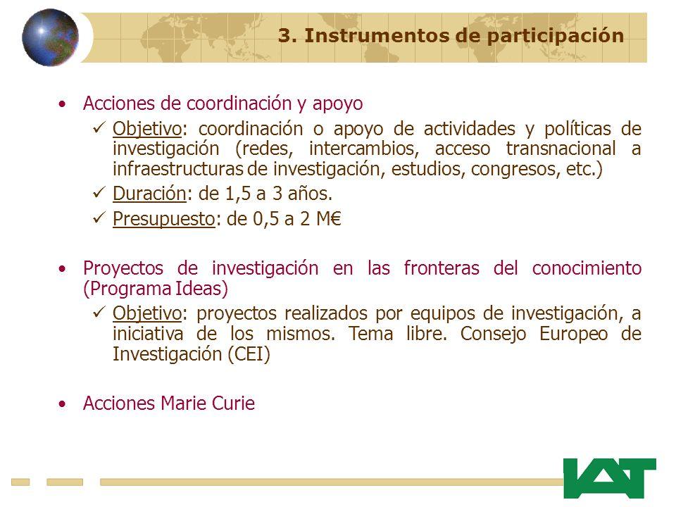 Acciones de coordinación y apoyo Objetivo: coordinación o apoyo de actividades y políticas de investigación (redes, intercambios, acceso transnacional a infraestructuras de investigación, estudios, congresos, etc.) Duración: de 1,5 a 3 años.