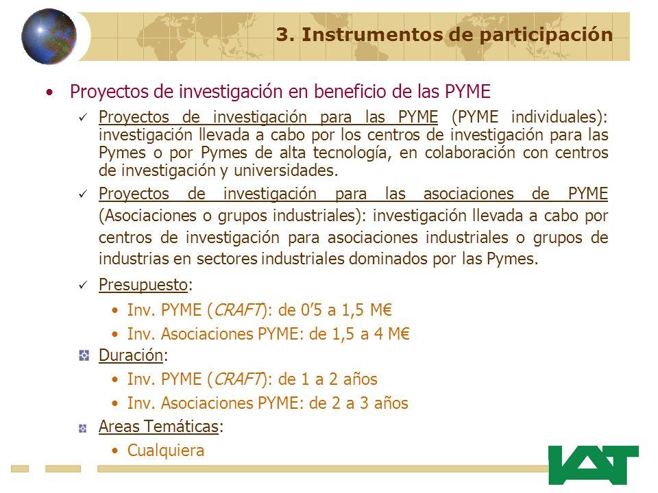 Proyectos de investigación en beneficio de las PYME Proyectos de investigación para las PYME (PYME individuales): investigación llevada a cabo por los centros de investigación para las Pymes o por Pymes de alta tecnología, en colaboración con centros de investigación y universidades.