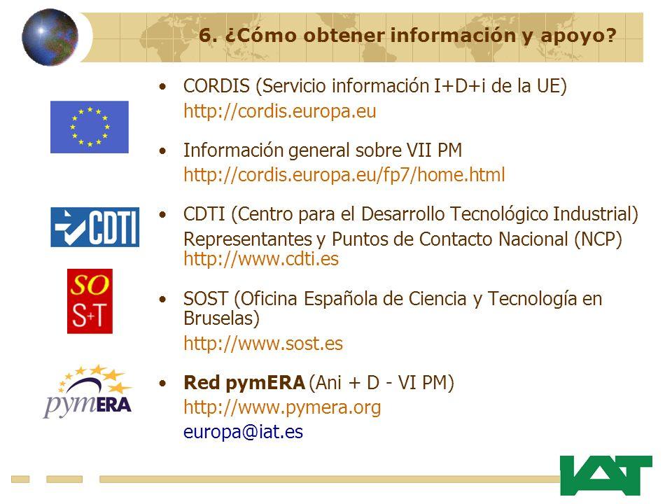 CORDIS (Servicio información I+D+i de la UE) http://cordis.europa.eu Información general sobre VII PM http://cordis.europa.eu/fp7/home.html CDTI (Centro para el Desarrollo Tecnológico Industrial) Representantes y Puntos de Contacto Nacional (NCP) http://www.cdti.es SOST (Oficina Española de Ciencia y Tecnología en Bruselas) http://www.sost.es Red pymERA (Ani + D - VI PM) http://www.pymera.org europa@iat.es 6.