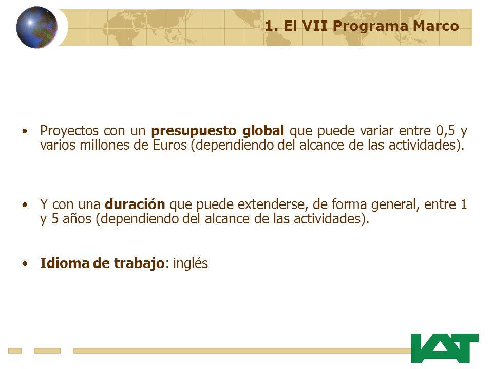 Proyectos con un presupuesto global que puede variar entre 0,5 y varios millones de Euros (dependiendo del alcance de las actividades).