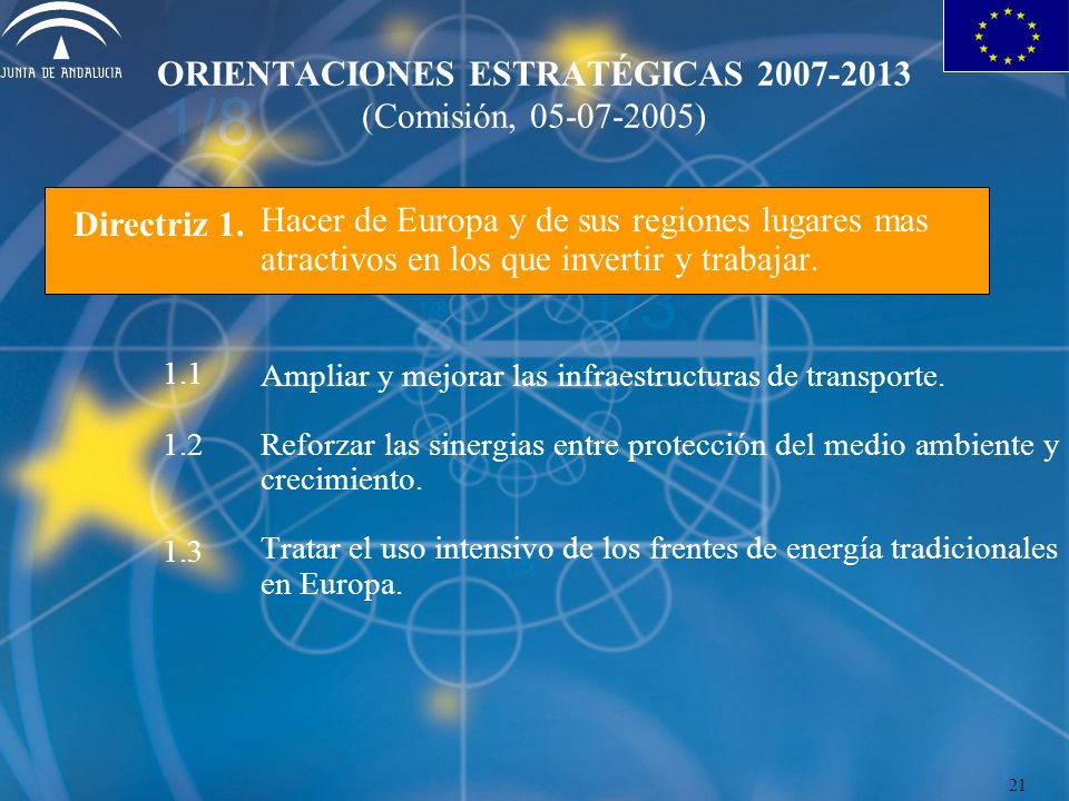 ORIENTACIONES ESTRATÉGICAS 2007-2013 (Comisión, 05-07-2005) Hacer de Europa y de sus regiones lugares mas atractivos en los que invertir y trabajar.