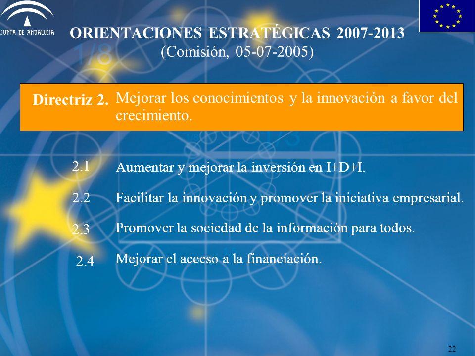 ORIENTACIONES ESTRATÉGICAS 2007-2013 (Comisión, 05-07-2005) Mejorar los conocimientos y la innovación a favor del crecimiento. Aumentar y mejorar la i