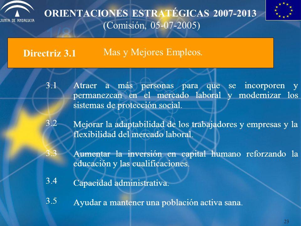 ORIENTACIONES ESTRATÉGICAS 2007-2013 (Comisión, 05-07-2005) Mas y Mejores Empleos. Atraer a más personas para que se incorporen y permanezcan en el me