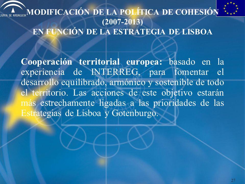 MODIFICACIÓN DE LA POLÍTICA DE COHESIÓN (2007-2013) EN FUNCIÓN DE LA ESTRATEGIA DE LISBOA Cooperación territorial europea: basado en la experiencia de INTERREG, para fomentar el desarrollo equilibrado, armónico y sostenible de todo el territorio.